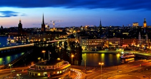 Stockholm at noon during the winter months.